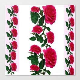 DECORATIVE CLIMBING PINK ROSES ON WHITE ART Canvas Print