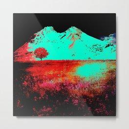 Neon Turquoise Hills Metal Print