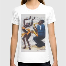African American 'Apollo Theater Sheet Music Portrait No. 4' Josephine & Sax by Miguel Covarrubias T-shirt