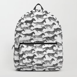 Running Watercolor Horses Pattern - Black Ink Backpack