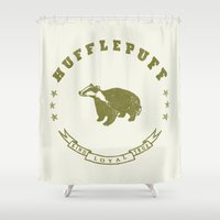 hufflepuff Shower Curtains featuring Hufflepuff House by Shelby Ticsay
