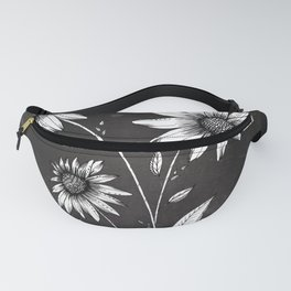 Wildflowers Ink Drawing | Black Background Fanny Pack