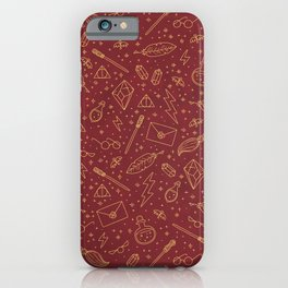 Yer a Wizard - Red + Gold iPhone Case