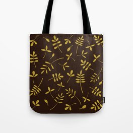 Gold Leaves Design on Brown Tote Bag