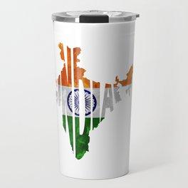 India World Map / Indian Typography Flag Map Art Travel Mug
