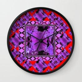 RED PURPLE AMETHYST FEBRUARY GEM BIRTHSTONE MODERN ART Wall Clock