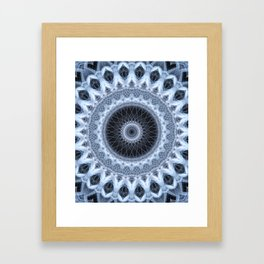 Silver and gray mandala Framed Art Print
