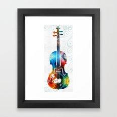 Colorful Violin Art by Sharon Cummings Framed Art Print