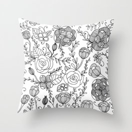 Floral Black and White Illustration Throw Pillow