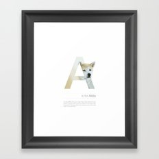 A is for Akita Framed Art Print