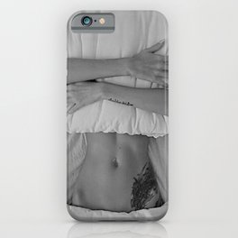 Mission: Get out of bed ... Status: Close enough! black and white morning photograph / photography iPhone Case