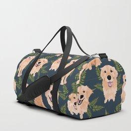 Golden Retrievers and Ferns on Navy Duffle Bag