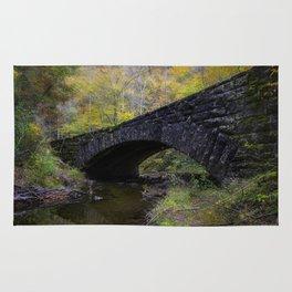 Laurel Creek Bridge - Autumn Colors Surround a Stone Bridge in Smoky Mountains Rug
