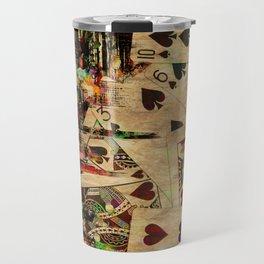 Abstract Vintage Playing cards  Digital Art Travel Mug