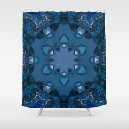 dark blue kaliedoscope Shower Curtain