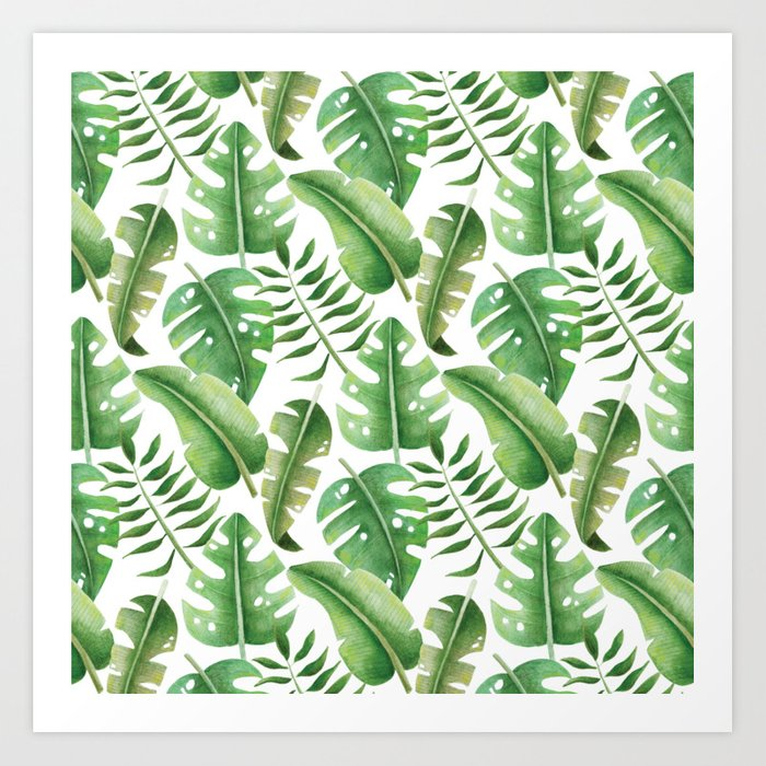 Hand Drawn Palm Leaf Pattern Art Print By Ivakezic