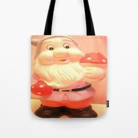 gnome Tote Bags featuring Gnome  by lil kitsch shop