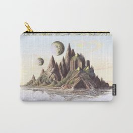 THREE PYRAMIDS, TWO MOONS, ONE ISLAND, VINTAGE PEN AND PENCIL DRAWING Carry-All Pouch