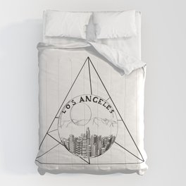 Graphic Geometric Shape Gray Los Angeles in a Bottle Comforters