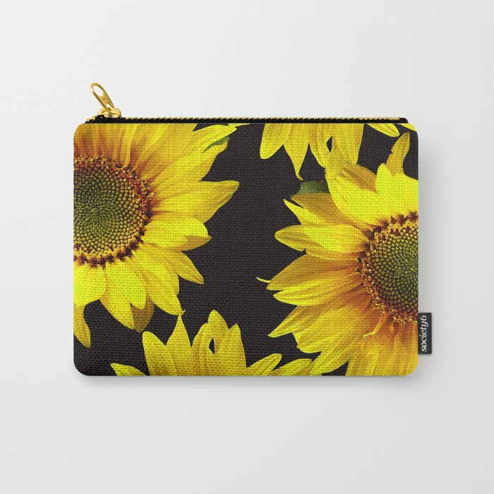 Large Sunflowers on a black background - #Society6 #buyart Carry-All Pouch
