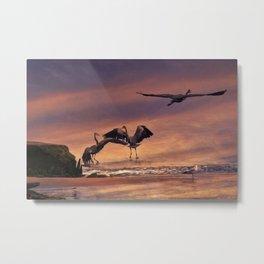 Herons At Sunset Metal Print