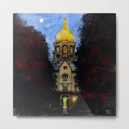 Golden Dome At Dusk: South Bend, IN Metal Print