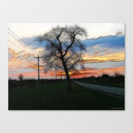The Sunset Into Watercolor Canvas Print