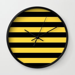 Even Horizontal Stripes, Yellow and Black, L Wall Clock