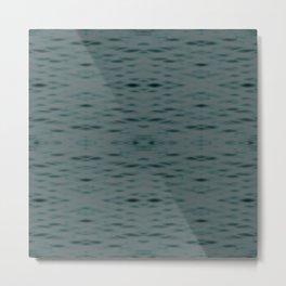 Dark Teal Zigzag Pattern Metal Print