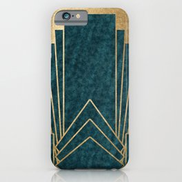Art Deco glamour - teal and gold iPhone Case