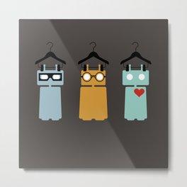 Robots on hangers - red heart Metal Print