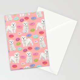 Maltese donuts dog breed funny pet lover dog person pattern print by pet friendly Stationery Cards