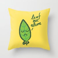 introvert Throw Pillows featuring The introvert leaf by Picomodi