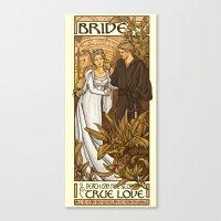 bride Canvas Prints featuring Bride by Karen Hallion Illustrations