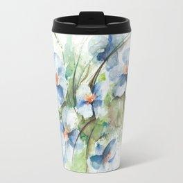 Blue floral watercolor Travel Mug