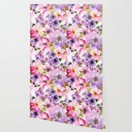 Pink Purple Watercolor Flowers Wallpaper