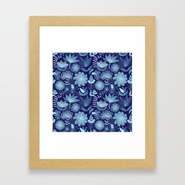 Abstract Colorful Blue Floral Flowers Doodle Art  Framed Art Print