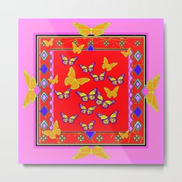 Golden Butterfly Season Red-Pink Abstract Design Metal Print