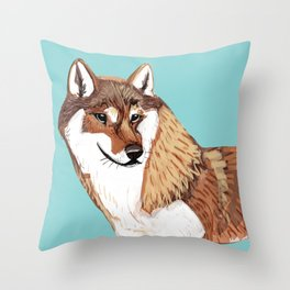 Shikoku Inu Red Throw Pillow