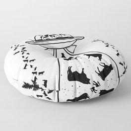 Alien cow abduction Floor Pillow