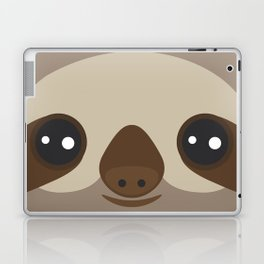 funny and cute smiling Three-toed sloth on brown background Laptop & iPad Skin