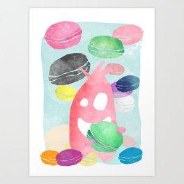 A wild creature in a macaron rain Art Print