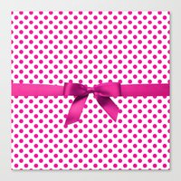 polkadot Canvas Prints featuring Pink Polkadot - Ribbon by albert Junior