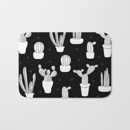 Black and White Desert Cacti Pattern Bath Mat
