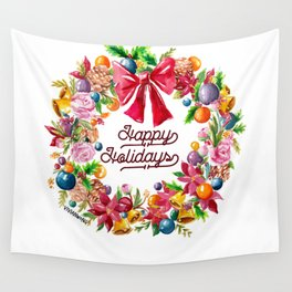 Christmas Wreath Painting Illustration Design Wall Tapestry