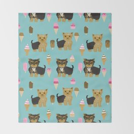 Yorkie ice cream gifts yorkshire terrier dog lover pet friendly patterns minty Throw Blanket
