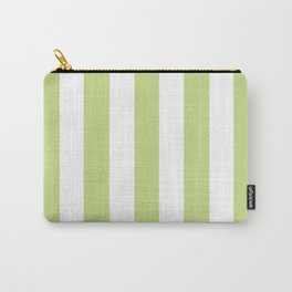 Medium spring bud green - solid color - white vertical lines pattern Carry-All Pouch