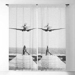 Steady As She Goes; aircraft coming in for an island landing black and white photography- photographs Blackout Curtain