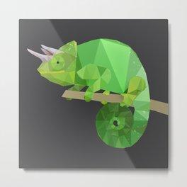 Low Poly Chameleon Metal Print