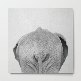 Elephant Tail - Black & White Metal Print
